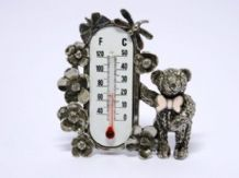 Pewter Teddy Room Thermometer